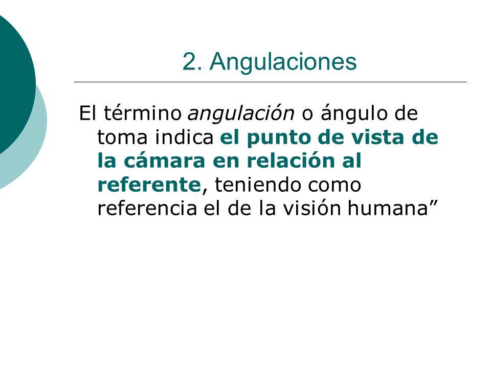 2. Angulaciones El término angulación o ángulo de toma indica el punto de vista de la cámara en relación al referente, teniendo como referencia el de