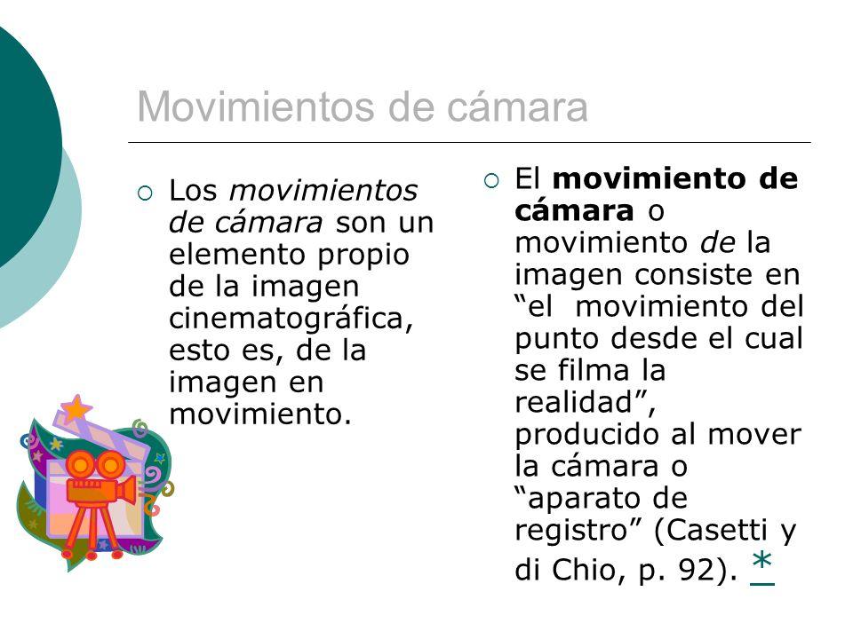 Panorámica y travelling Panorámica: para lograr este tipo de movimiento la cámara permanece fija al suelo, pero gira en alrededor de su eje en cualquier sentido, de derecha a izquierda, de abajo hacia arriba, en forma oblicua, etc.