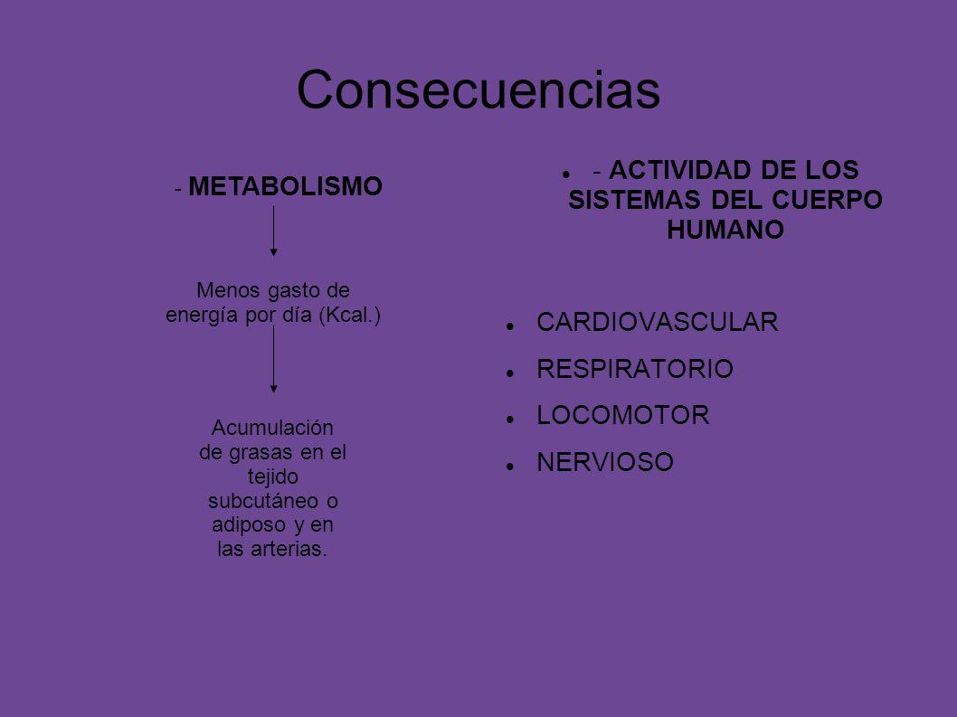 Consecuencias - ACTIVIDAD DE LOS SISTEMAS DEL CUERPO HUMANO CARDIOVASCULAR RESPIRATORIO LOCOMOTOR NERVIOSO Menos gasto de energía por día (Kcal.) Acum