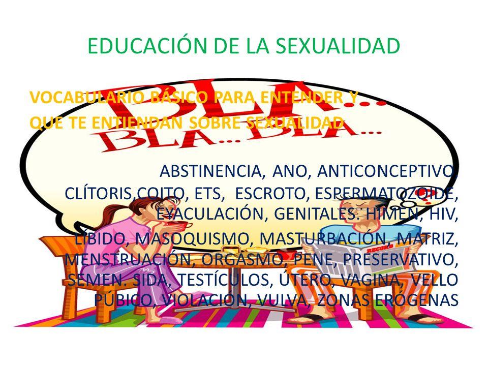 EDUCACIÓN DE LA SEXUALIDAD VOCABULARIO BÁSICO PARA ENTENDER Y QUE TE ENTIENDAN SOBRE SEXUALIDAD ABSTINENCIA, ANO, ANTICONCEPTIVO, CLÍTORIS,COITO, ETS, ESCROTO, ESPERMATOZOIDE, EYACULACIÓN, GENITALES.