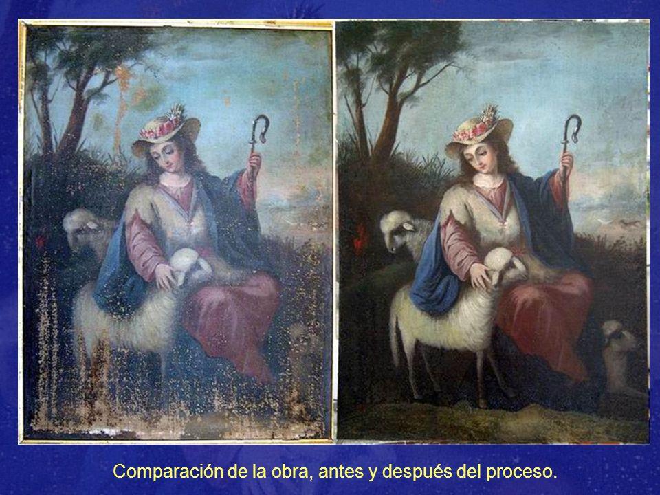 Comparación de la obra, antes y después del proceso.