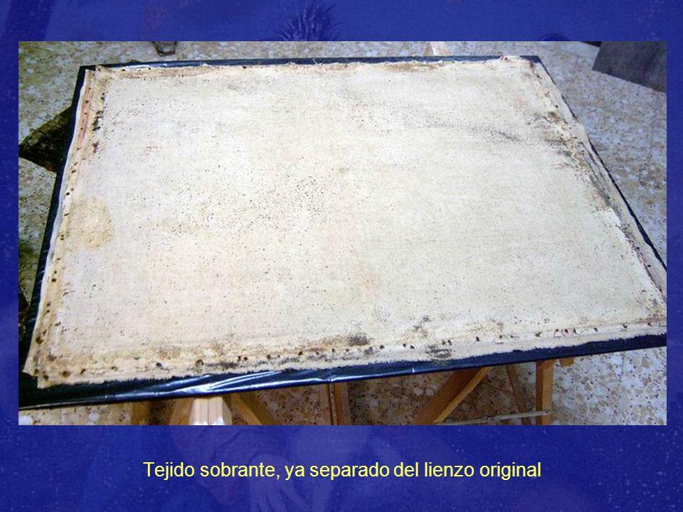 Lienzo original, puesto sobre fondo blanco, para mejor apreciación de las pérdidas de tejido, preparación y policromía.