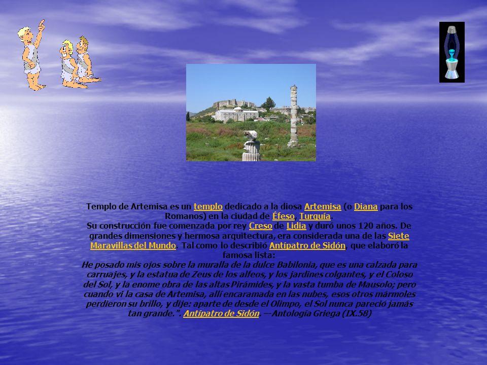 Templo de Artemisa es un templo dedicado a la diosa Artemisa (o Diana para los Romanos) en la ciudad de Éfeso, Turquía.temploArtemisaDianaÉfesoTurquía