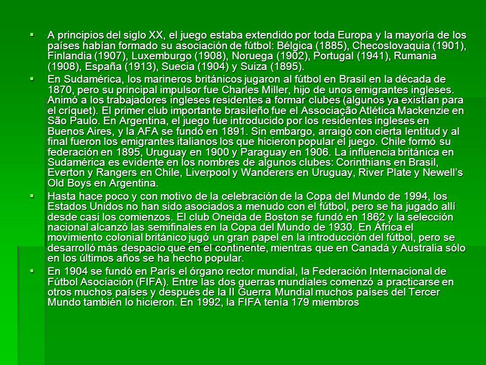 A principios del siglo XX, el juego estaba extendido por toda Europa y la mayoría de los países habían formado su asociación de fútbol: Bélgica (1885)