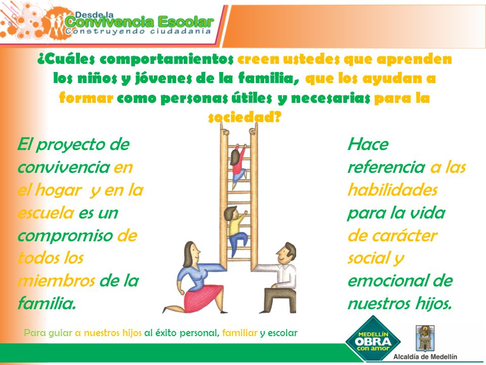 Hace referencia a las habilidades para la vida de carácter social y emocional de nuestros hijos. El proyecto de convivencia en el hogar y en la escuel