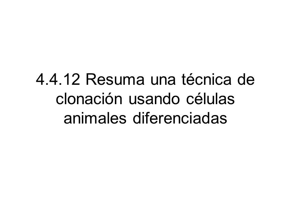 4.4.12 Resuma una técnica de clonación usando células animales diferenciadas