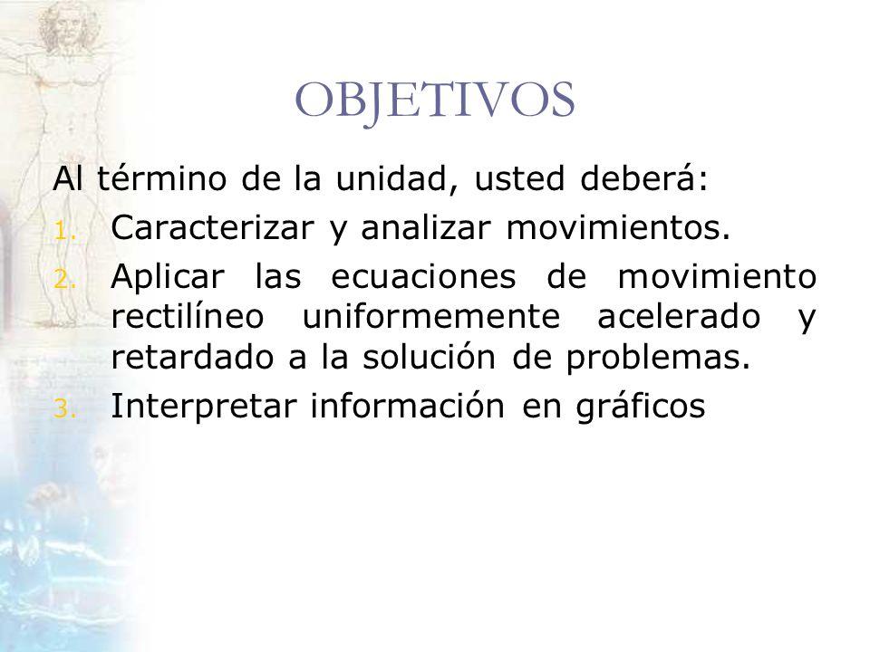 OBJETIVOS Al término de la unidad, usted deberá: 1. Caracterizar y analizar movimientos. 2. Aplicar las ecuaciones de movimiento rectilíneo uniformeme