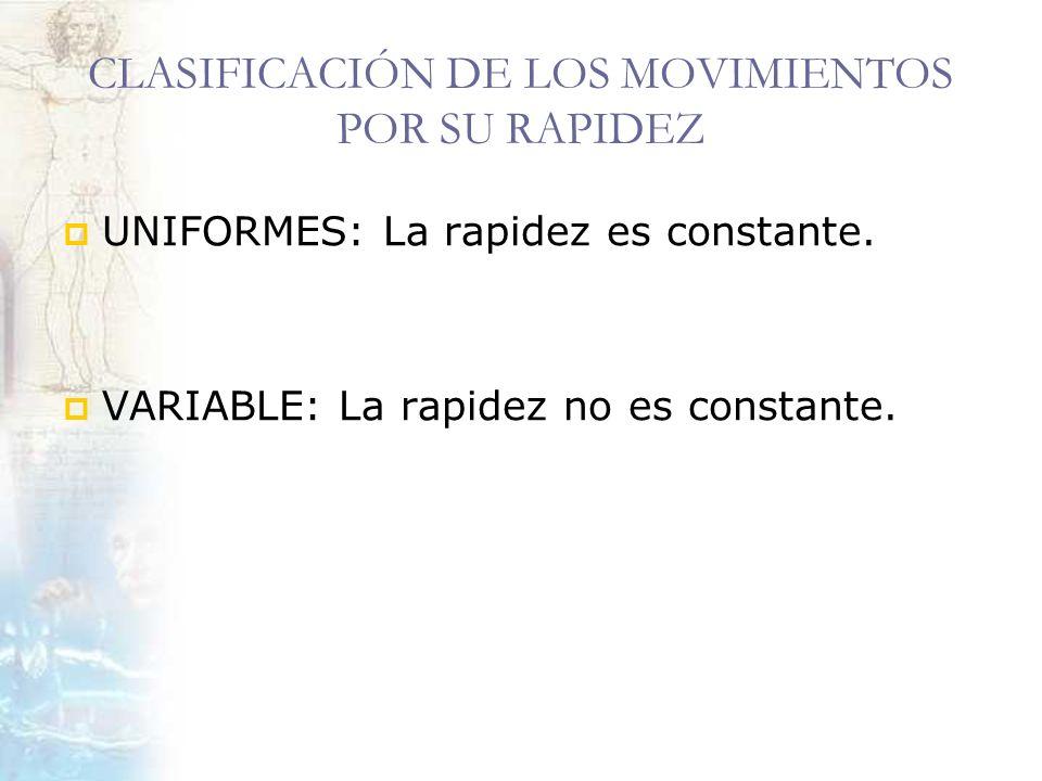 CLASIFICACIÓN DE LOS MOVIMIENTOS POR SU RAPIDEZ UNIFORMES: La rapidez es constante. VARIABLE: La rapidez no es constante.