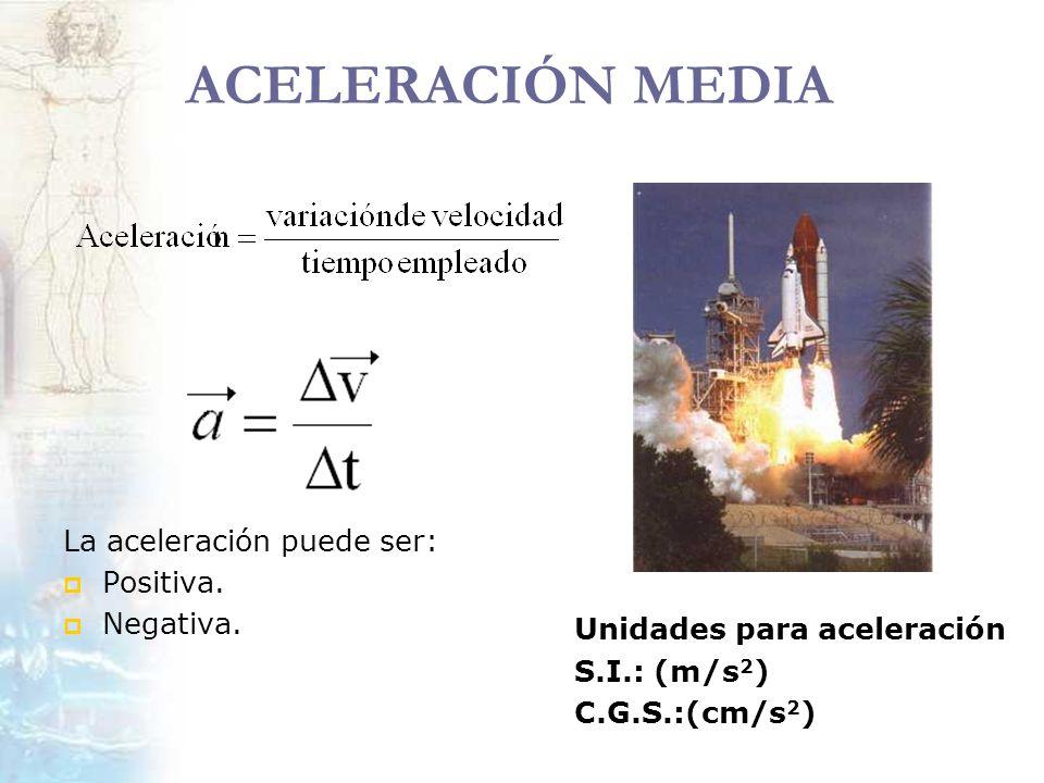 ACELERACIÓN MEDIA La aceleración puede ser: Positiva. Negativa. Unidades para aceleración S.I.: (m/s 2 ) C.G.S.:(cm/s 2 )
