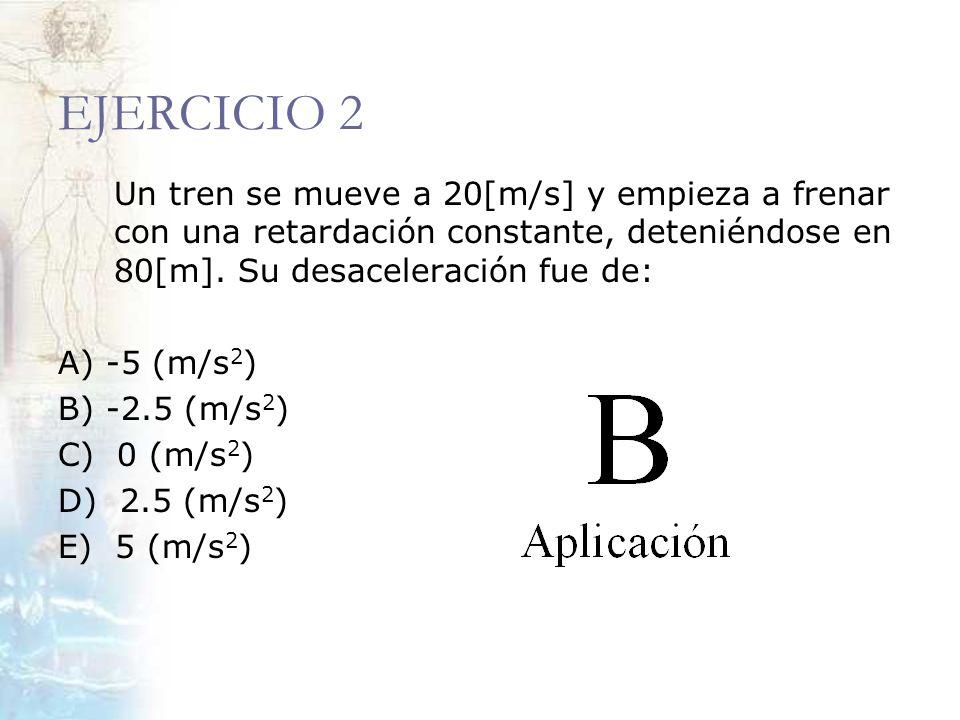 EJERCICIO 2 Un tren se mueve a 20[m/s] y empieza a frenar con una retardación constante, deteniéndose en 80[m]. Su desaceleración fue de: A) -5 (m/s 2