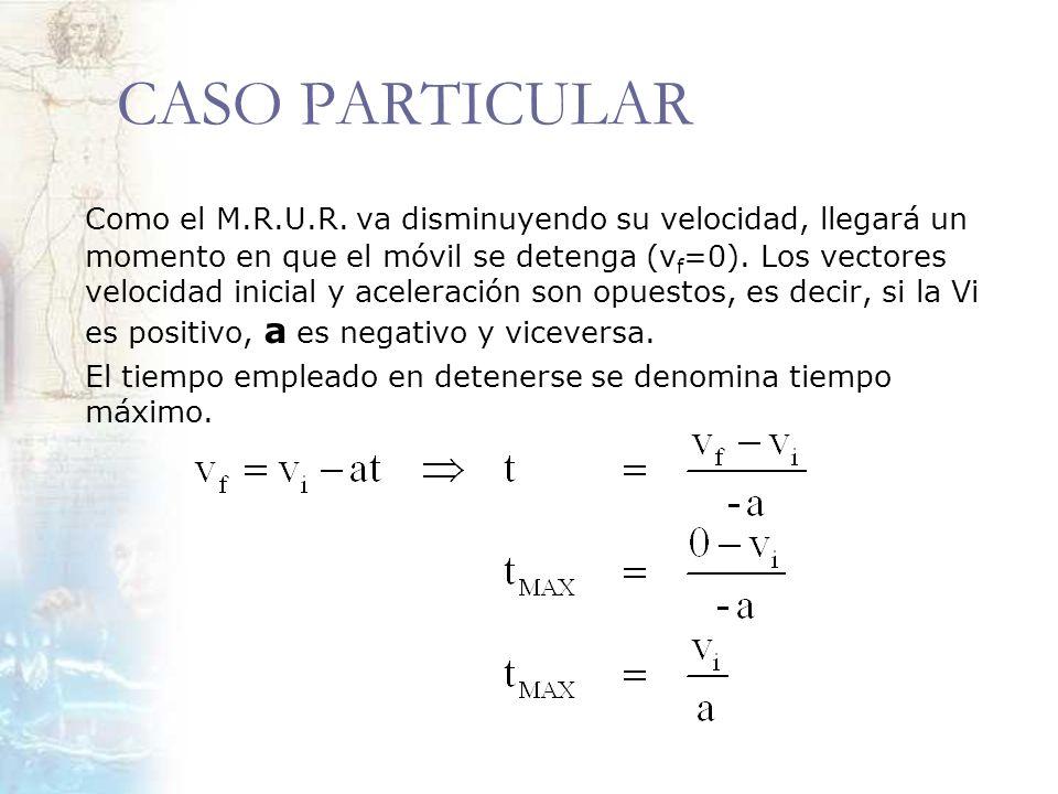CASO PARTICULAR Como el M.R.U.R. va disminuyendo su velocidad, llegará un momento en que el móvil se detenga (v f =0). Los vectores velocidad inicial