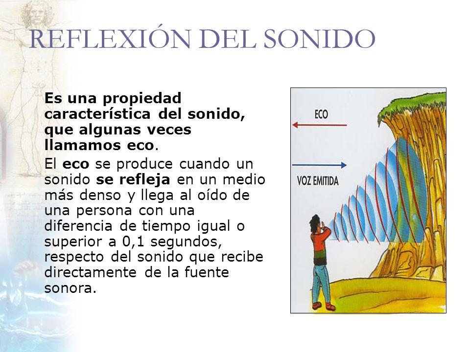 REFLEXIÓN DEL SONIDO Es una propiedad característica del sonido, que algunas veces llamamos eco. El eco se produce cuando un sonido se refleja en un m