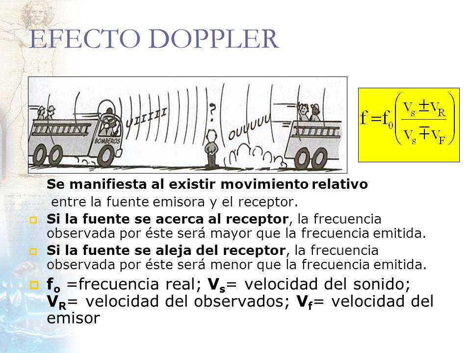 EFECTO DOPPLER Se manifiesta al existir movimiento relativo entre la fuente emisora y el receptor. Si la fuente se acerca al receptor, la frecuencia o