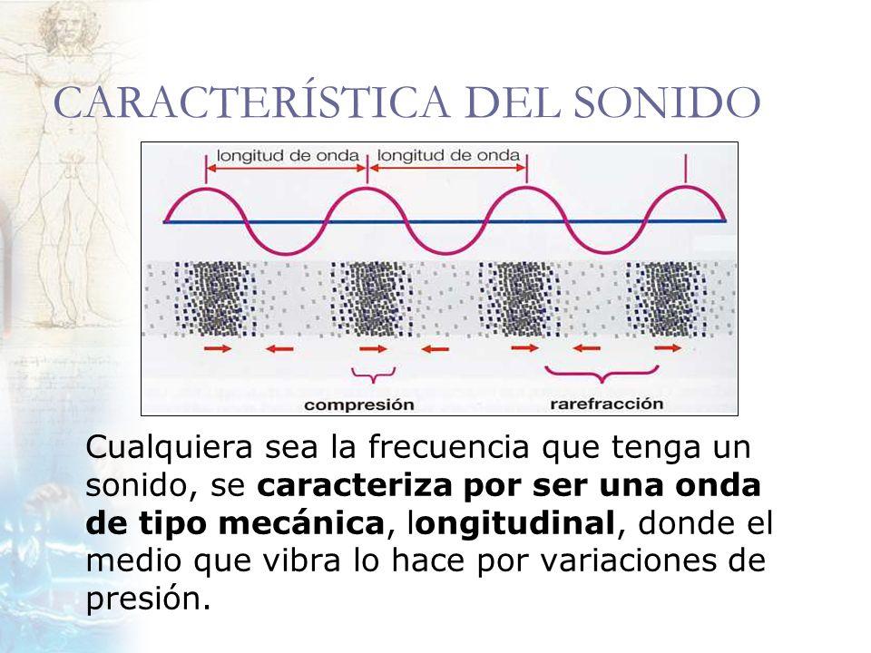 CARACTERÍSTICA DEL SONIDO Cualquiera sea la frecuencia que tenga un sonido, se caracteriza por ser una onda de tipo mecánica, longitudinal, donde el m