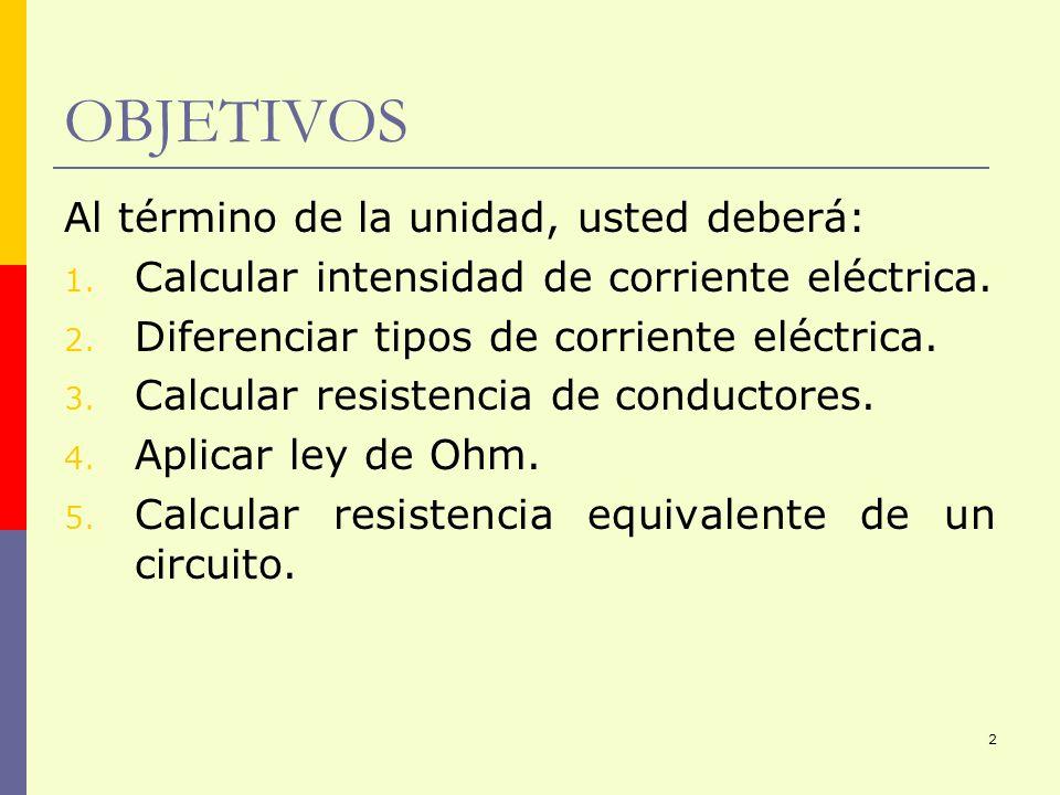 2 OBJETIVOS Al término de la unidad, usted deberá: 1. Calcular intensidad de corriente eléctrica. 2. Diferenciar tipos de corriente eléctrica. 3. Calc