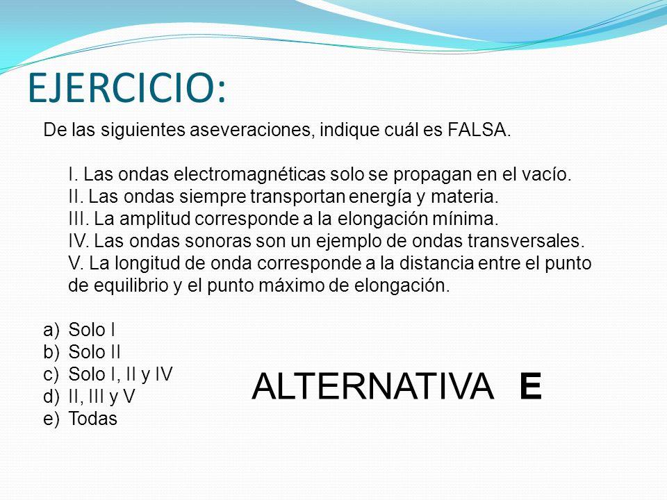 EJERCICIO: De las siguientes aseveraciones, indique cuál es FALSA. I. Las ondas electromagnéticas solo se propagan en el vacío. II. Las ondas siempre