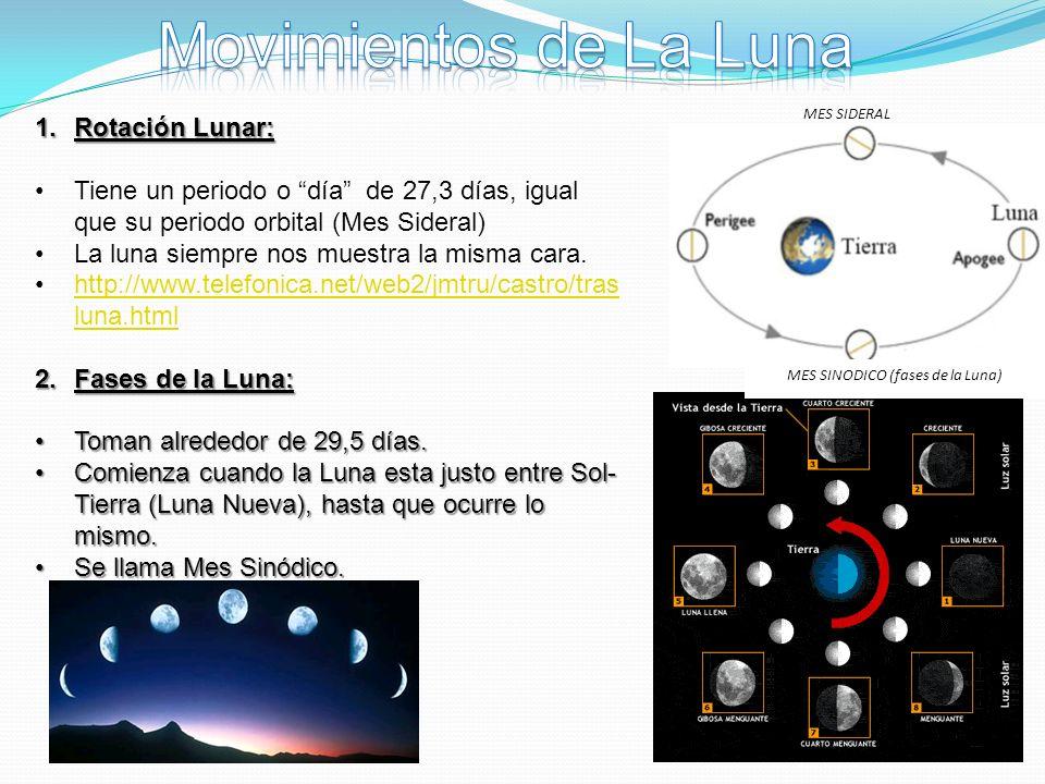MES SIDERAL MES SINODICO (fases de la Luna) 1.Rotación Lunar: Tiene un periodo o día de 27,3 días, igual que su periodo orbital (Mes Sideral) La luna