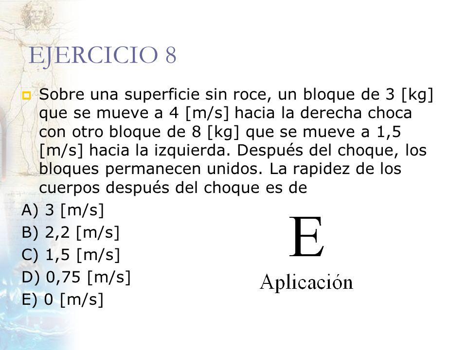 EJERCICIO 8 Sobre una superficie sin roce, un bloque de 3 [kg] que se mueve a 4 [m/s] hacia la derecha choca con otro bloque de 8 [kg] que se mueve a