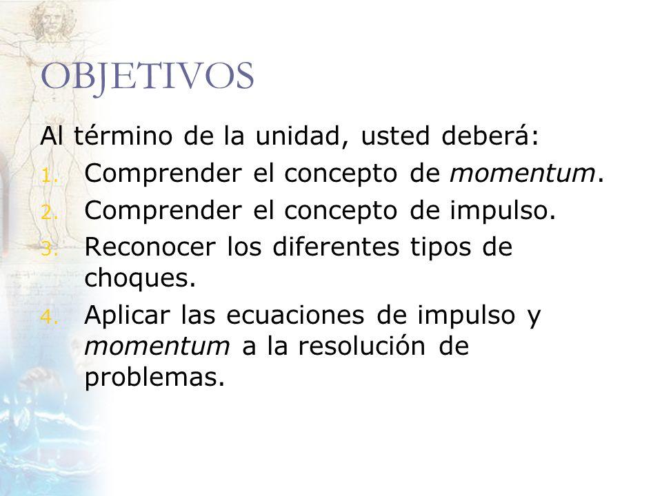MOMENTUM (CANTIDAD DE MOVIMENTO) El momentum, es un vector que está relacionado con la inercia de un cuerpo.