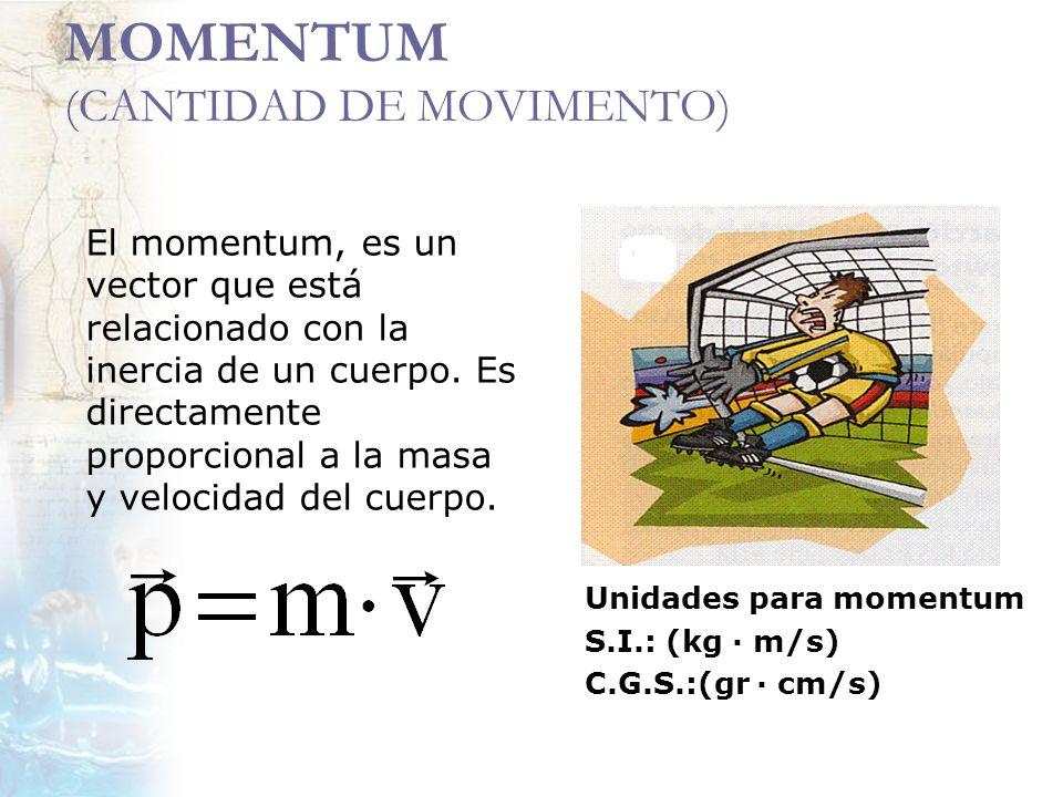 MOMENTUM (CANTIDAD DE MOVIMENTO) El momentum, es un vector que está relacionado con la inercia de un cuerpo. Es directamente proporcional a la masa y