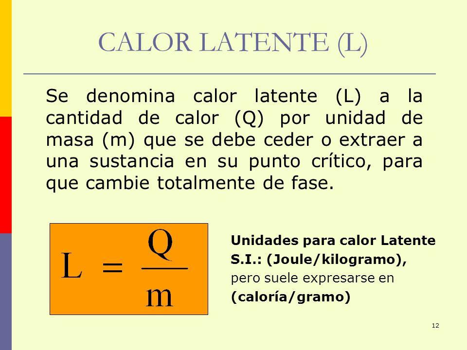 12 CALOR LATENTE (L) Se denomina calor latente (L) a la cantidad de calor (Q) por unidad de masa (m) que se debe ceder o extraer a una sustancia en su