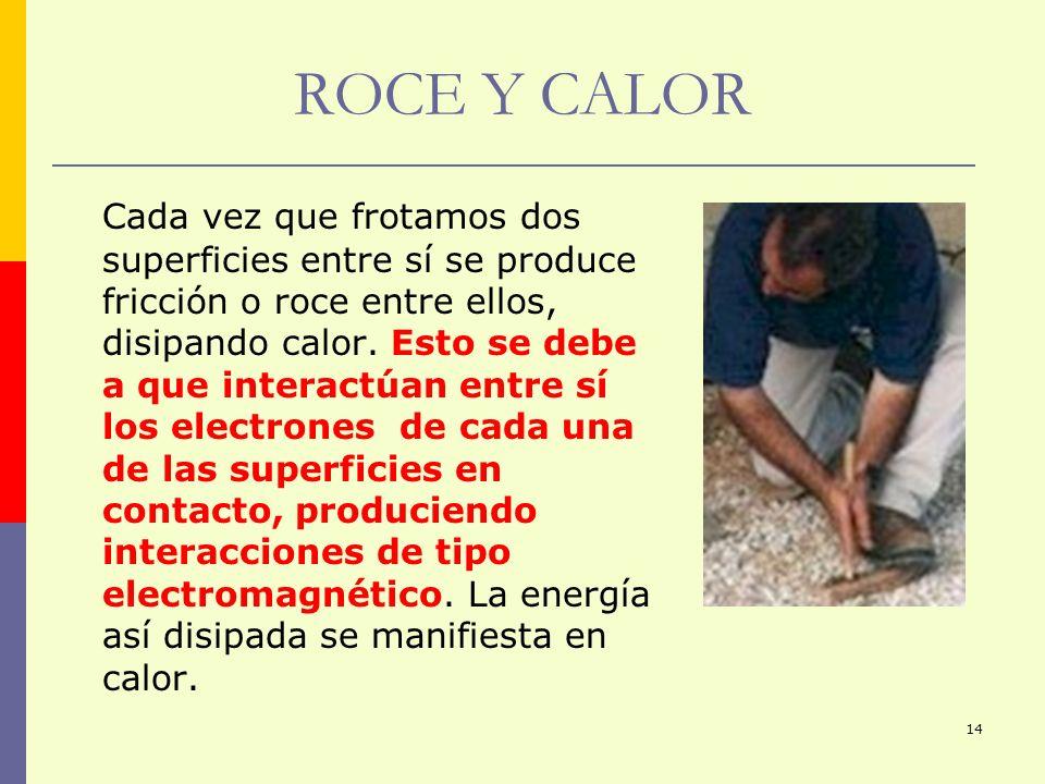 14 ROCE Y CALOR Cada vez que frotamos dos superficies entre sí se produce fricción o roce entre ellos, disipando calor. Esto se debe a que interactúan