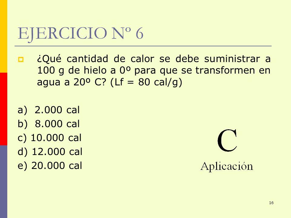 16 ¿Qué cantidad de calor se debe suministrar a 100 g de hielo a 0º para que se transformen en agua a 20º C? (Lf = 80 cal/g) a) 2.000 cal b) 8.000 cal