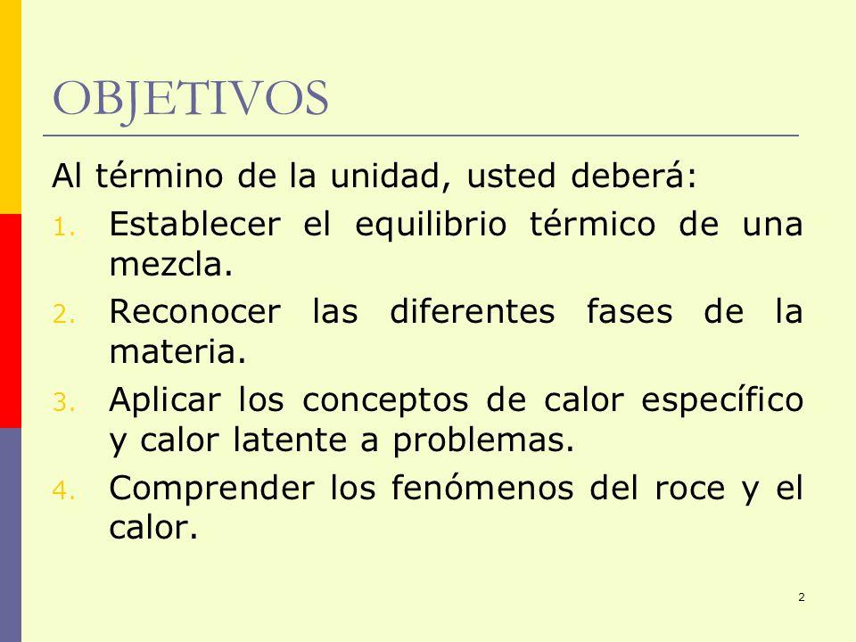 2 OBJETIVOS Al término de la unidad, usted deberá: 1. Establecer el equilibrio térmico de una mezcla. 2. Reconocer las diferentes fases de la materia.