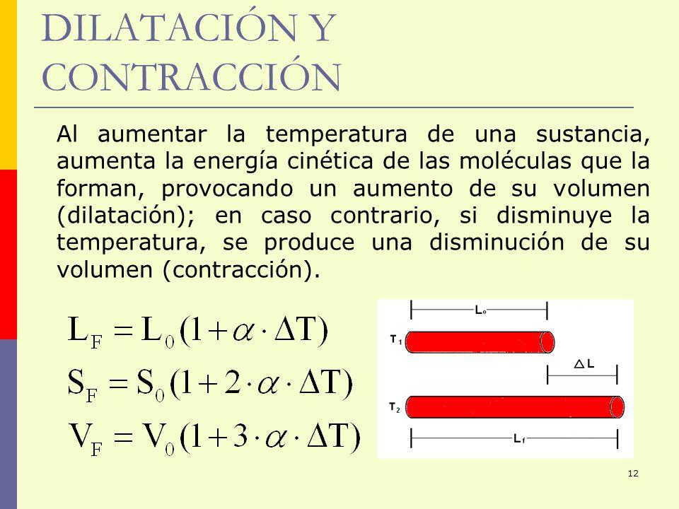 12 DILATACIÓN Y CONTRACCIÓN Al aumentar la temperatura de una sustancia, aumenta la energía cinética de las moléculas que la forman, provocando un aum