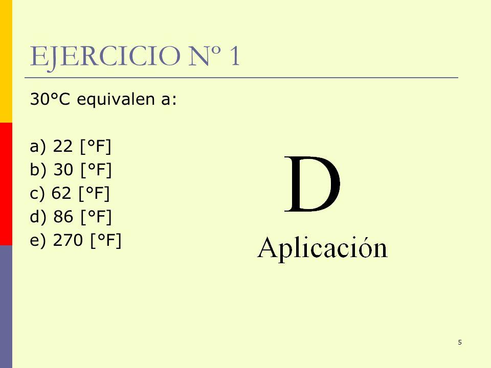 5 EJERCICIO Nº 1 30°C equivalen a: a) 22 [°F] b) 30 [°F] c) 62 [°F] d) 86 [°F] e) 270 [°F]