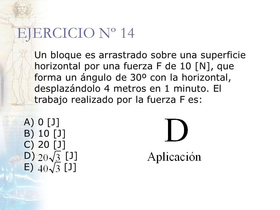 EJERCICIO Nº 14 Un bloque es arrastrado sobre una superficie horizontal por una fuerza F de 10 [N], que forma un ángulo de 30º con la horizontal, desp