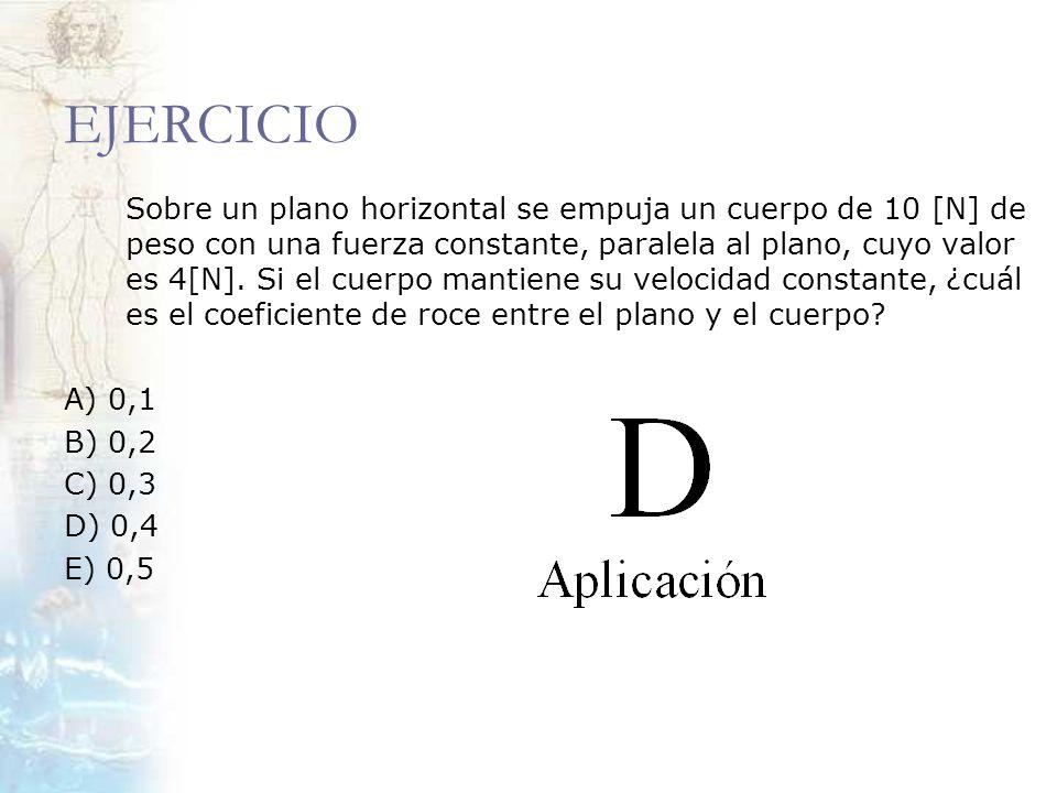 EJERCICIO Sobre un plano horizontal se empuja un cuerpo de 10 [N] de peso con una fuerza constante, paralela al plano, cuyo valor es 4[N]. Si el cuerp