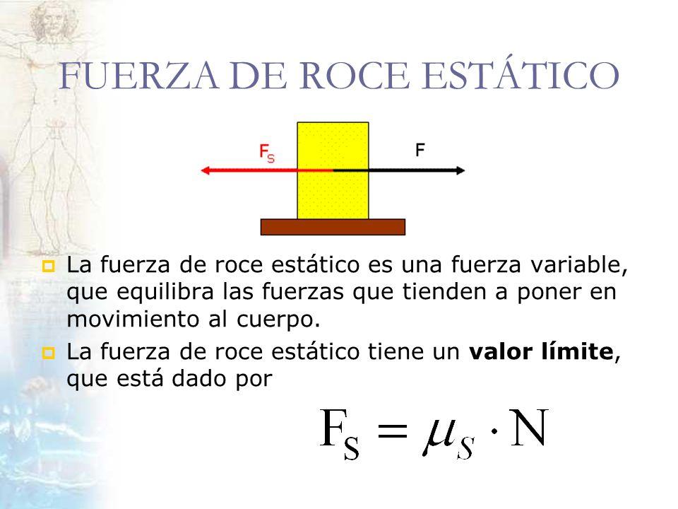 FUERZA DE ROCE ESTÁTICO La fuerza de roce estático es una fuerza variable, que equilibra las fuerzas que tienden a poner en movimiento al cuerpo. La f