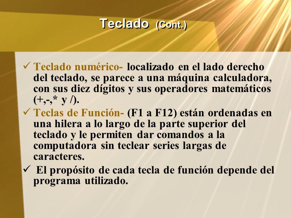 Teclado (Cont.) Teclado numérico- localizado en el lado derecho del teclado, se parece a una máquina calculadora, con sus diez dígitos y sus operadore
