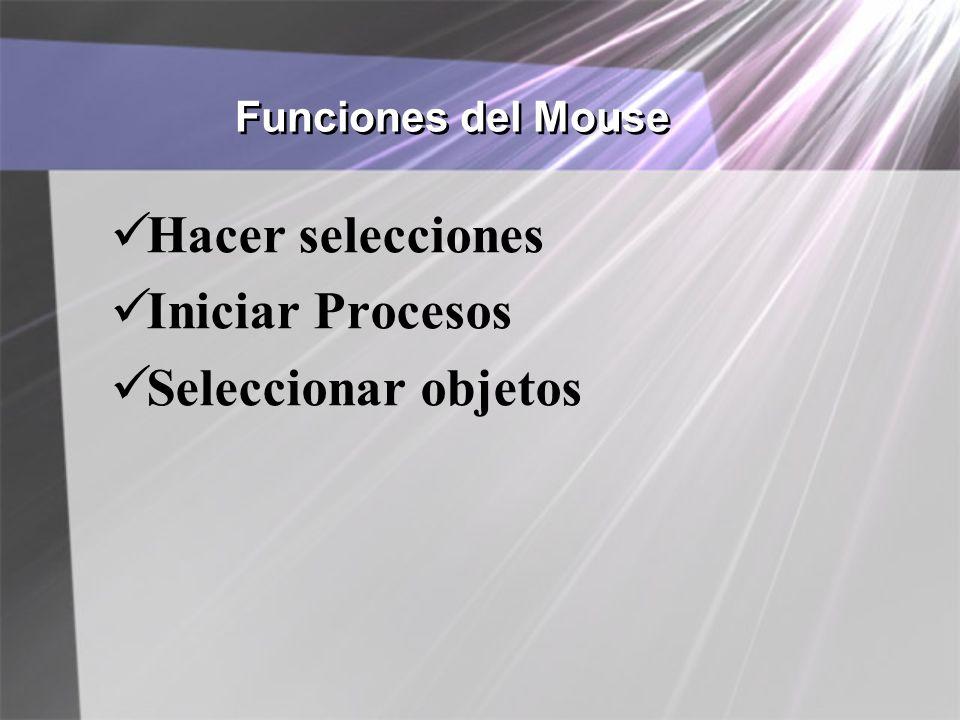 Funciones del Mouse Hacer selecciones Iniciar Procesos Seleccionar objetos