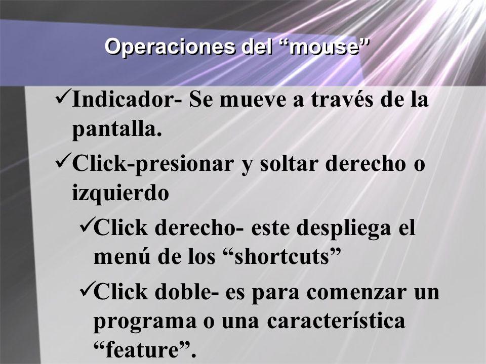 Operaciones del mouse Indicador- Se mueve a través de la pantalla. Click-presionar y soltar derecho o izquierdo Click derecho- este despliega el menú