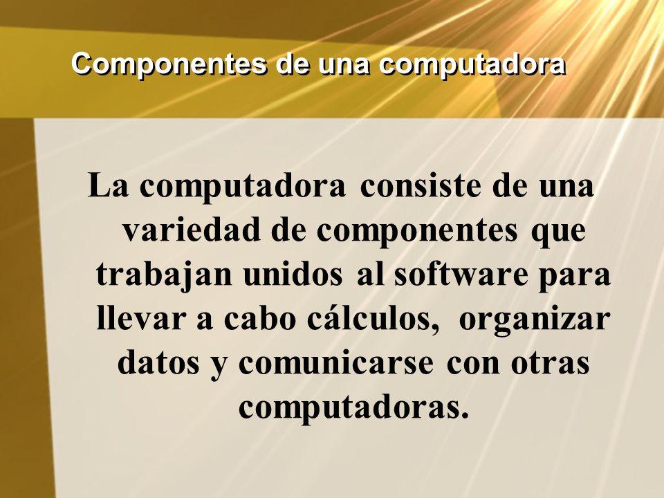 Componentes de una computadora La computadora consiste de una variedad de componentes que trabajan unidos al software para llevar a cabo cálculos, org
