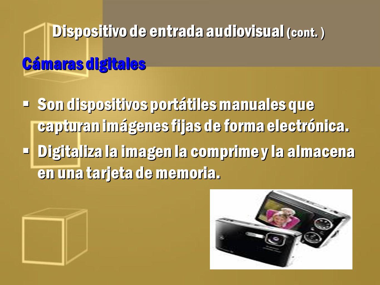 Dispositivo de entrada audiovisual (cont. ) Cámaras digitales Son dispositivos portátiles manuales que capturan imágenes fijas de forma electrónica. D