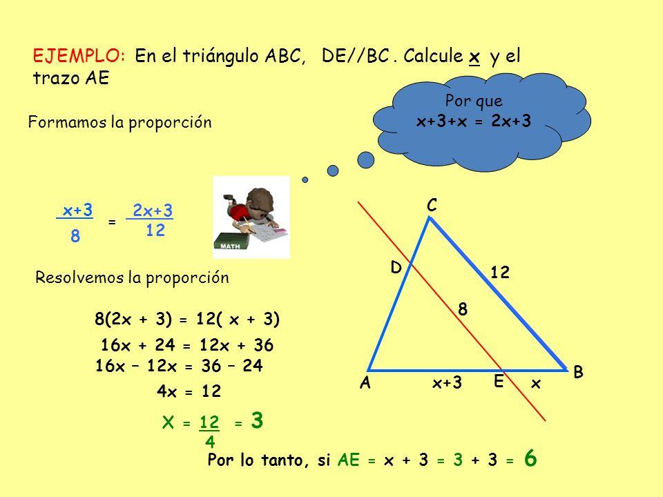 EJEMPLO: En el triángulo ABC, DE//BC. Calcule x y el trazo AE A B C x+3x 8 12 D E Formamos la proporción x+3 = 2x+3 12 Resolvemos la proporción Por qu