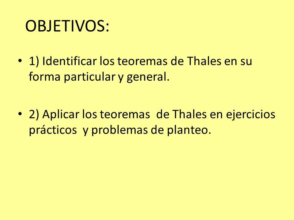 OBJETIVOS: 1) Identificar los teoremas de Thales en su forma particular y general. 2) Aplicar los teoremas de Thales en ejercicios prácticos y problem