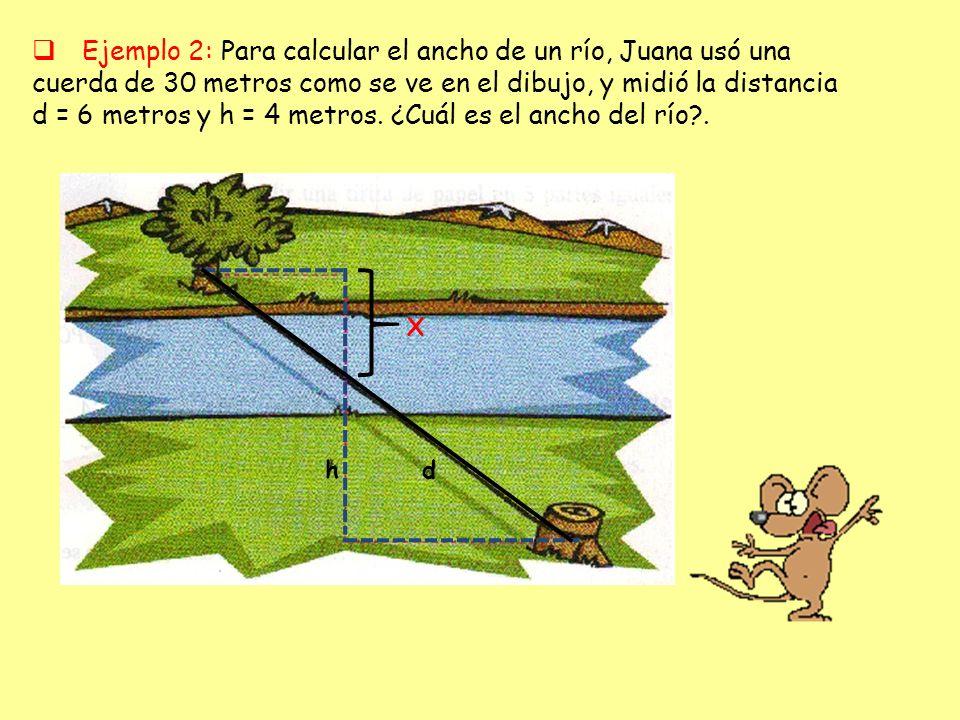 Ejemplo 2: Para calcular el ancho de un río, Juana usó una cuerda de 30 metros como se ve en el dibujo, y midió la distancia d = 6 metros y h = 4 metr