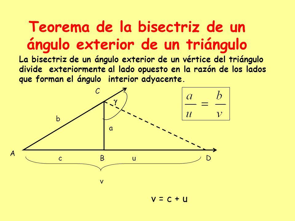 Teorema de la bisectriz de un ángulo exterior de un triángulo La bisectriz de un ángulo exterior de un vértice del triángulo divide exteriormente al l