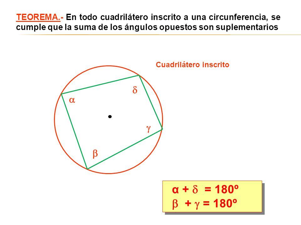 TEOREMA.- En todo cuadrilátero inscrito a una circunferencia, se cumple que la suma de los ángulos opuestos son suplementarios α + = 180º + = 180º α +