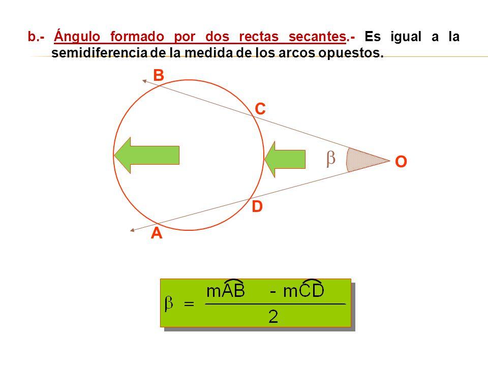 A B C O D b.- Ángulo formado por dos rectas secantes.- Es igual a la semidiferencia de la medida de los arcos opuestos.
