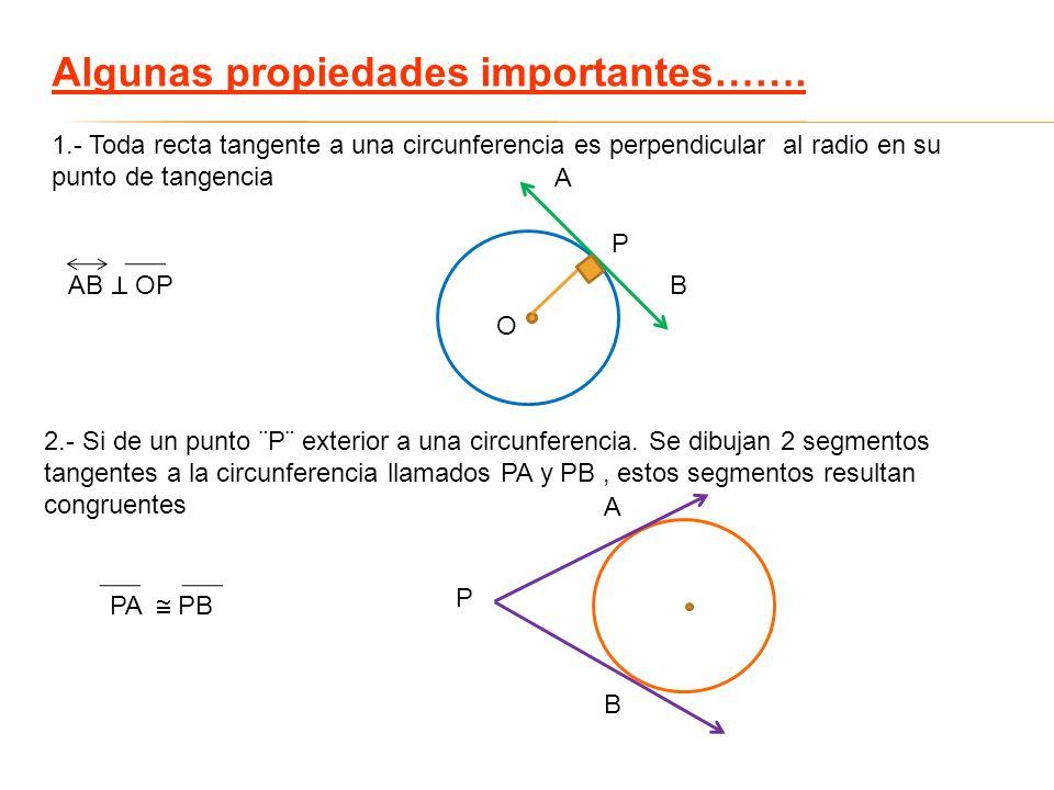 Algunas propiedades importantes……. 1.- Toda recta tangente a una circunferencia es perpendicular al radio en su punto de tangencia 2.- Si de un punto