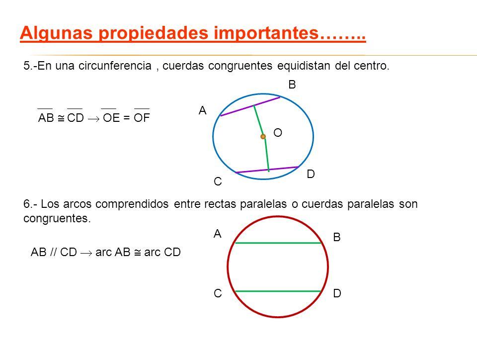 Algunas propiedades importantes…….. 5.-En una circunferencia, cuerdas congruentes equidistan del centro. 6.- Los arcos comprendidos entre rectas paral