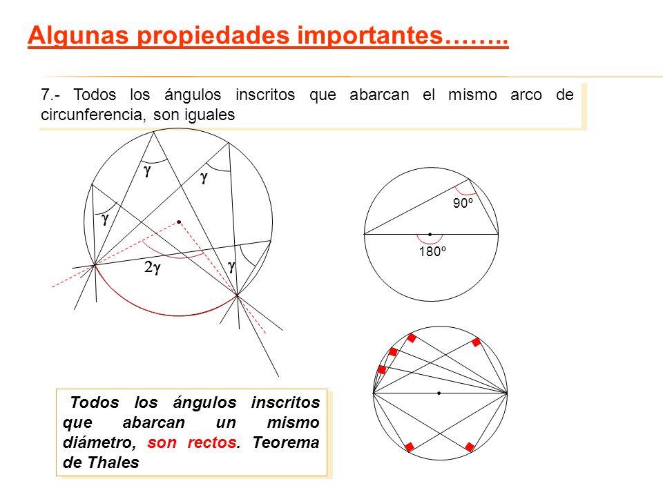 7.- Todos los ángulos inscritos que abarcan el mismo arco de circunferencia, son iguales 180º 90º Todos los ángulos inscritos que abarcan un mismo diá