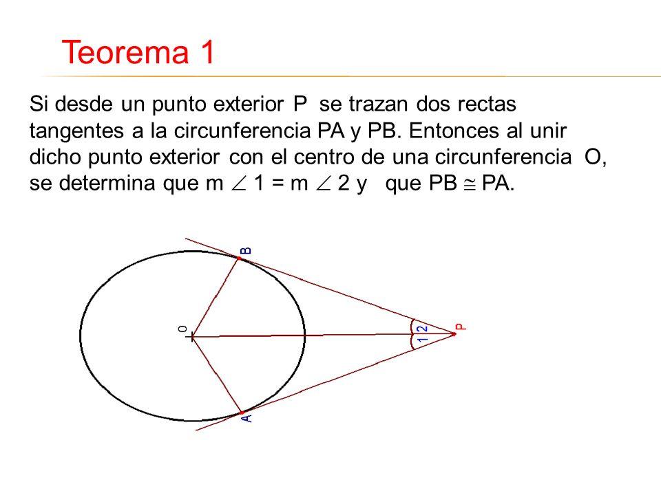 Si desde un punto exterior P se trazan dos rectas tangentes a la circunferencia PA y PB. Entonces al unir dicho punto exterior con el centro de una ci