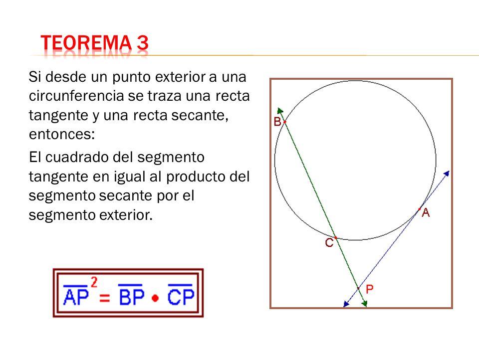 Si desde un punto exterior a una circunferencia se traza una recta tangente y una recta secante, entonces: El cuadrado del segmento tangente en igual