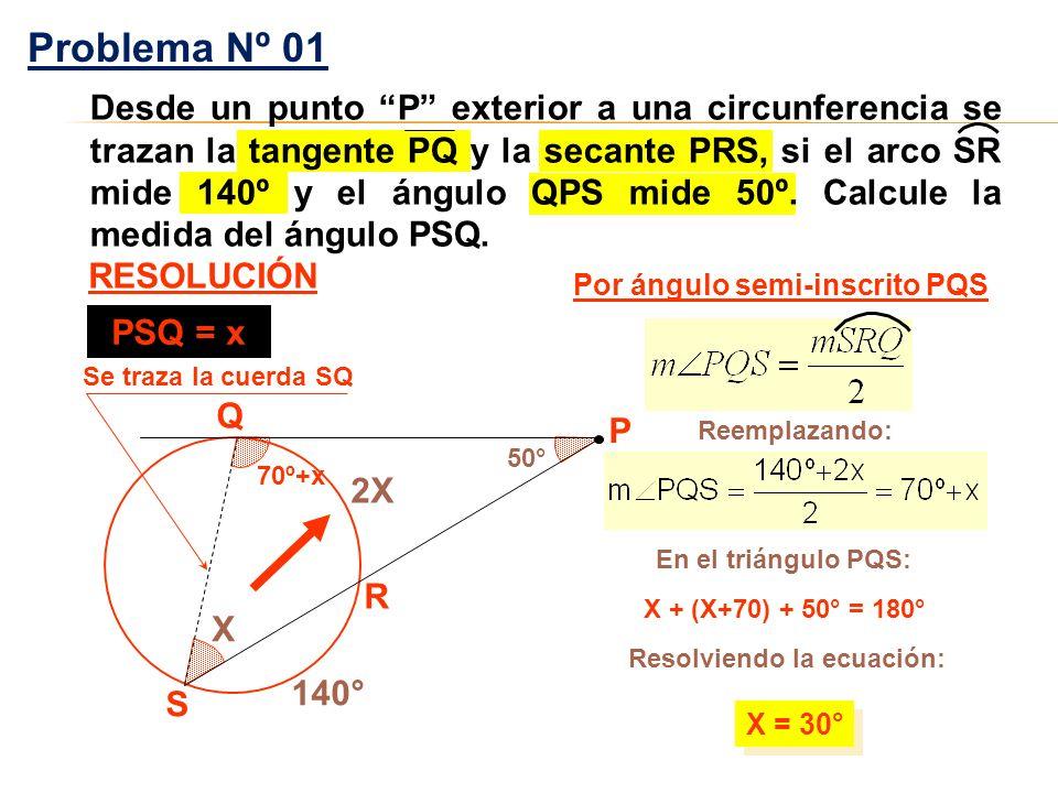 50° 70º+x X R S Q 140° 2X X + (X+70) + 50° = 180° X = 30° Por ángulo semi-inscrito PQS Problema Nº 01 RESOLUCIÓN P Reemplazando: En el triángulo PQS: